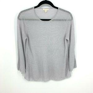 Eileen Fisher Blue 100% Linen 3/4 Sleeve Pullover